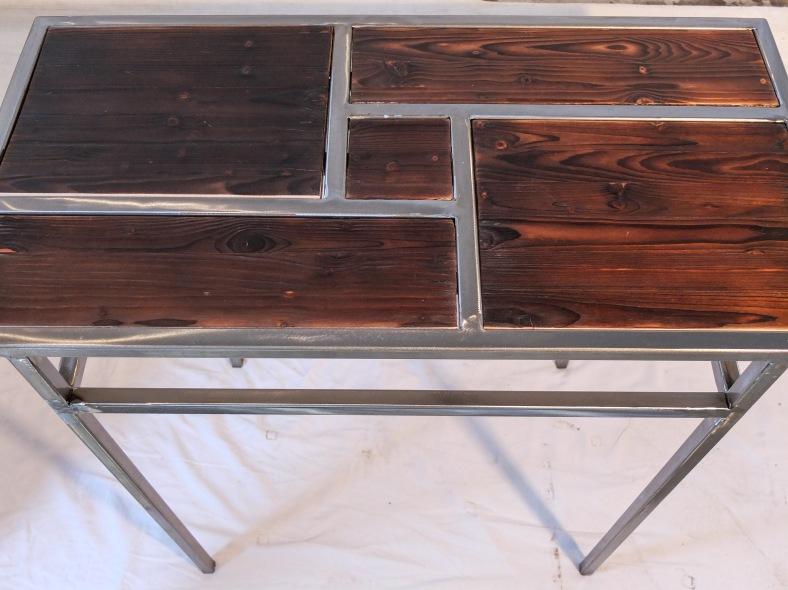 console vide poche bois brul l 39 atelier de stefinox. Black Bedroom Furniture Sets. Home Design Ideas