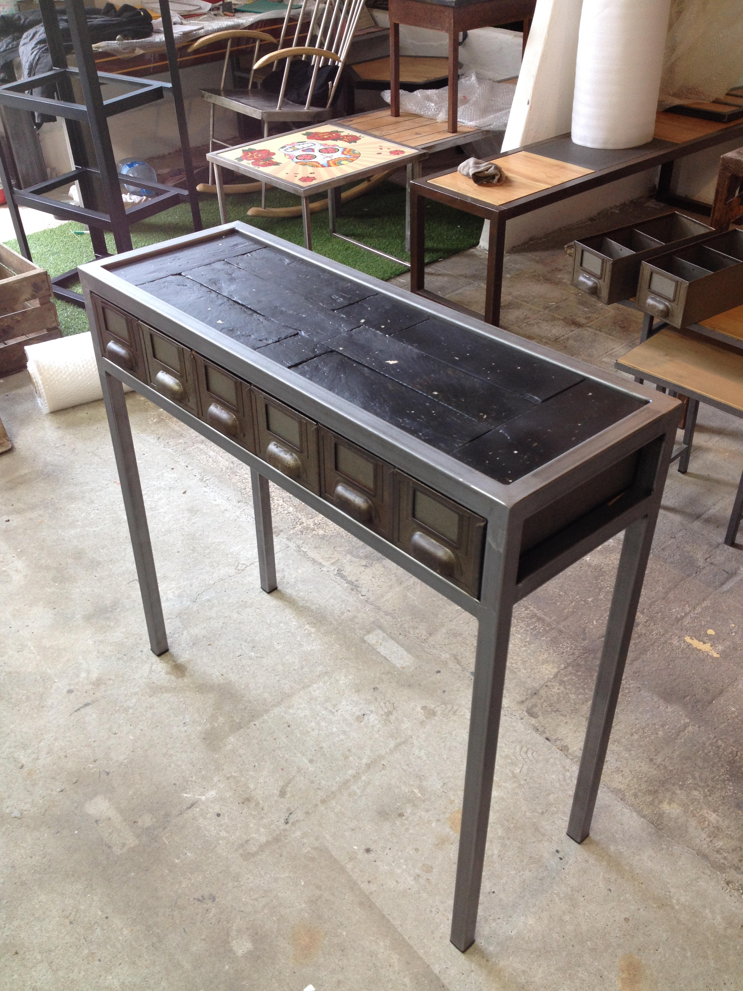 Console tiroirs acier et ardoise ostr icole recycl e - Table console avec tiroir ...